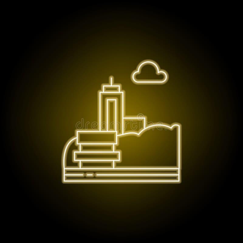 Суд, парк, линия города значок в желтом неоновом стиле Элемент иллюстрации ландшафтов Знаки и символы выравнивают значок можно ис иллюстрация штока