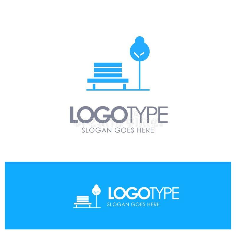 Суд, стул, парк, вектор логотипа гостиницы голубой иллюстрация штока