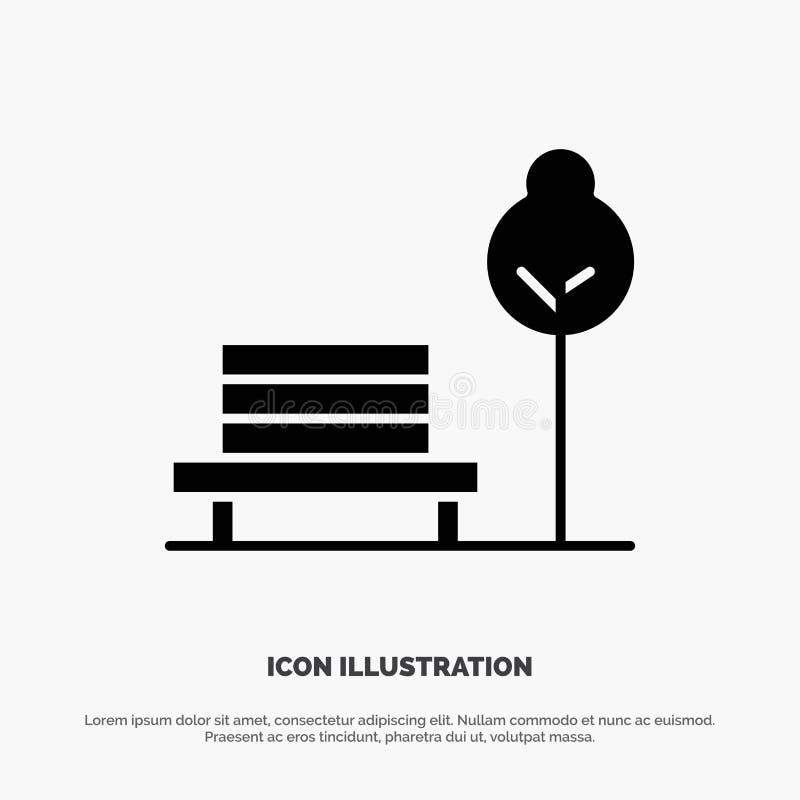 Суд, стул, парк, значок глифа гостиницы твердый черный иллюстрация штока