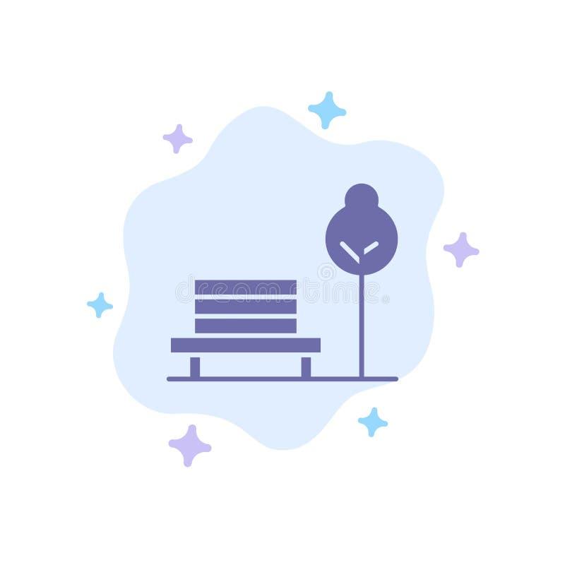 Суд, стул, парк, значок гостиницы голубой на абстрактной предпосылке облака иллюстрация вектора