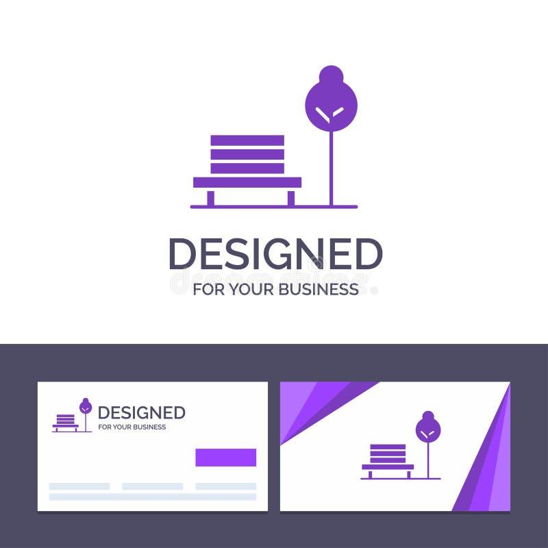 Суд творческого шаблона визитной карточки и логотипа, стул, парк, иллюстрация вектора гостиницы иллюстрация вектора