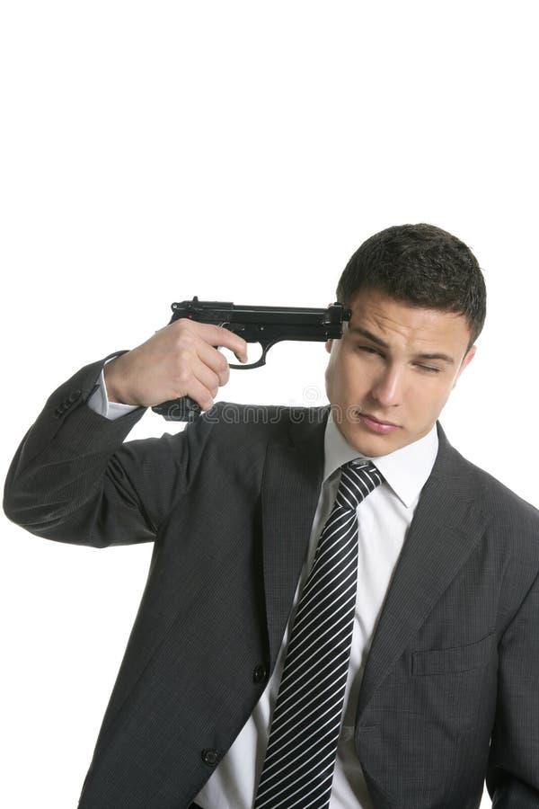 суицид всхода пушки бизнесмена к пробовать стоковое фото