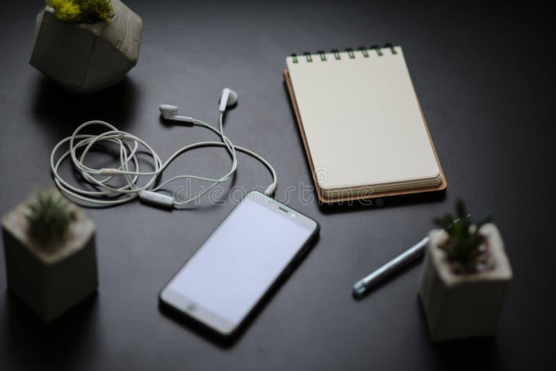 Суккулентная тетрадь наушников телефона стоковое фото