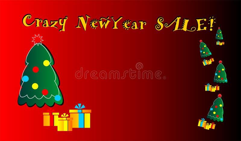 Сумасшедшая продажа Нового Года, знамя, учреждение, мечты, новые, для сети, для рекламировать, для продажи, предложение, иллюстрация штока