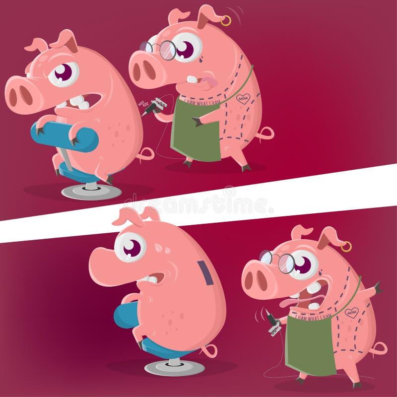 Сумасшедшая свинья мультфильма получает татуировку копилки в 2 перспективах иллюстрация штока
