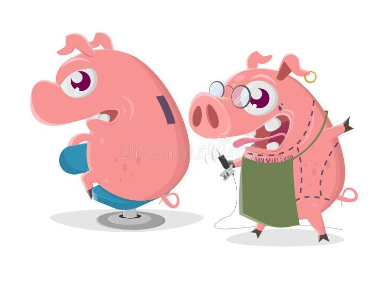 Сумасшедшая свинья мультфильма получает татуировку копилки бесплатная иллюстрация