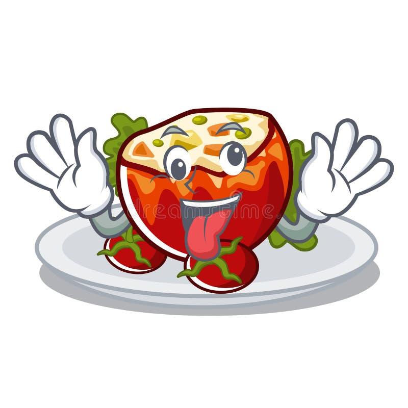 Сумасшедшие заполненные томаты в форме мультфильма иллюстрация вектора