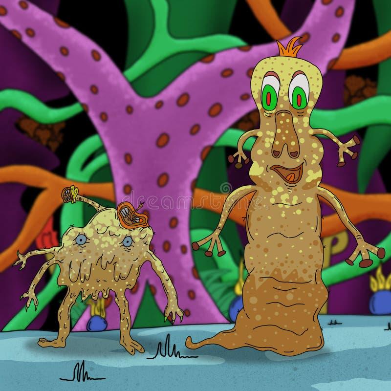 Сумасшедшие странные инопланетянин или чудовище в лесе чужеземца иллюстрация вектора