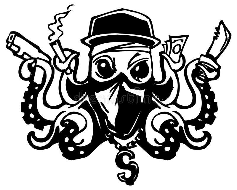 Сумасшедший логотип бандита шатии осьминога иллюстрация вектора