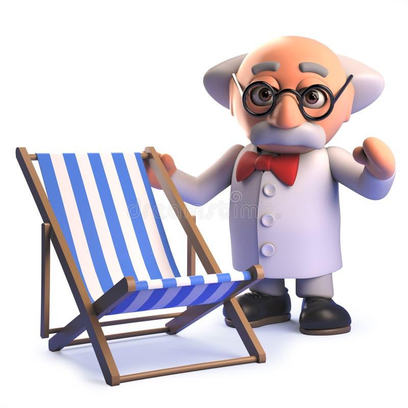 Сумасшедший сумашедший персонаж из мультфильма ученого в положении 3d рядом с deckchair праздника бесплатная иллюстрация