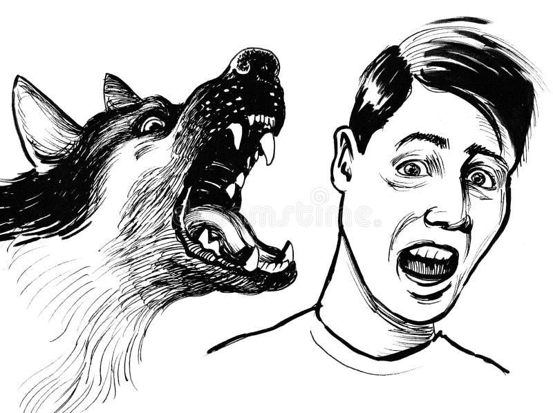 Сумашедшая собака и вспугнутый человек иллюстрация штока