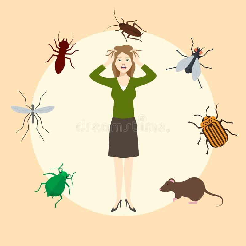 Сумашедше устрашенная женщина Девушка испуганная бичей Таракан, мышь, крыса, москит, муха, ошибки в объезжанном infographics иллюстрация вектора