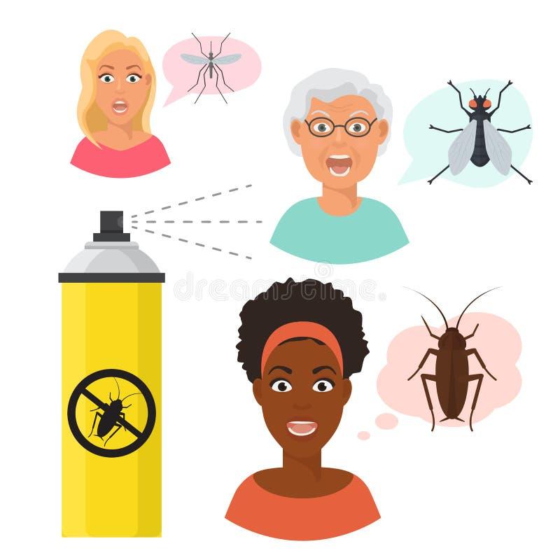 Сумашедше устрашенные стороны eldery и молодой женщины и москит и муха Черная девушка испуганная таракана Аэрозольный баллон иллюстрация штока