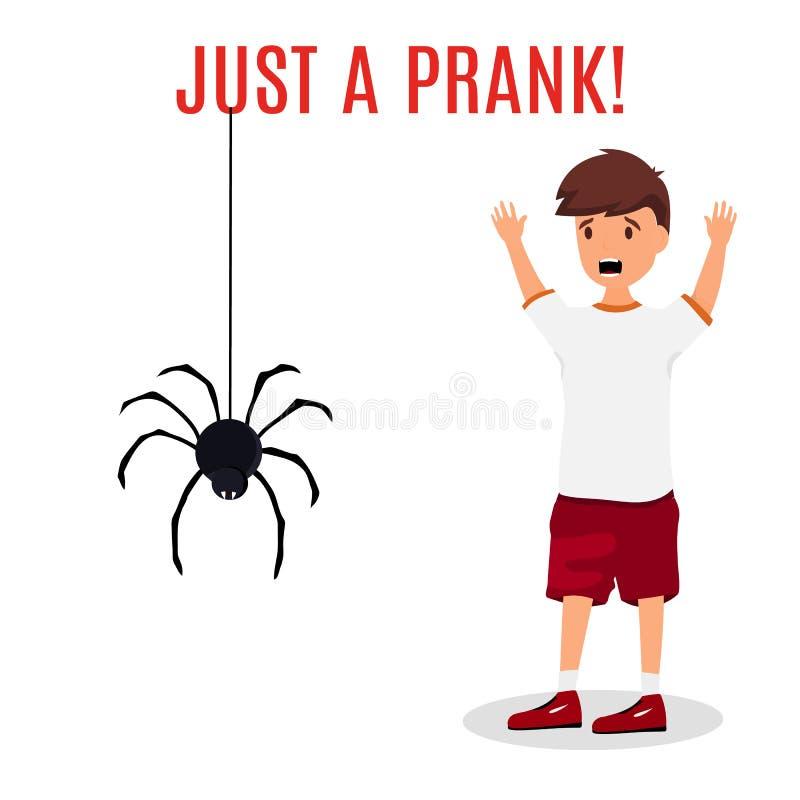Сумашедше устрашенный человек Мальчик испуганный смертной казни через повешение паука от верхней части Концепция проказы Красочны иллюстрация штока