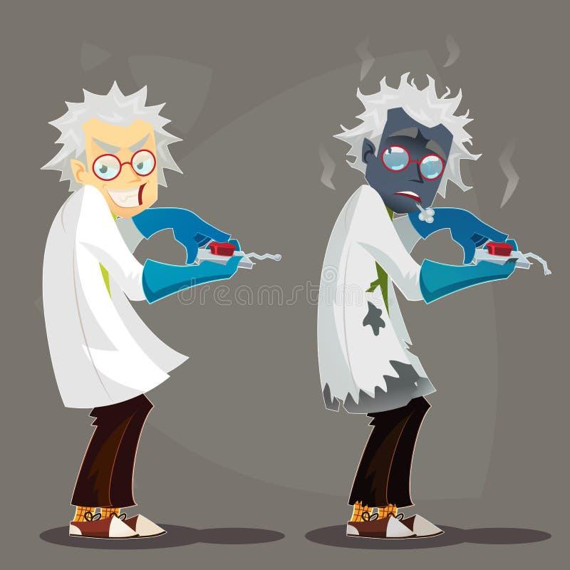 Сумашедший профессор ученого в пальто лаборатории и голубых резиновых перчатках Неудачный сгорели эксперимент, который Смешная ил бесплатная иллюстрация