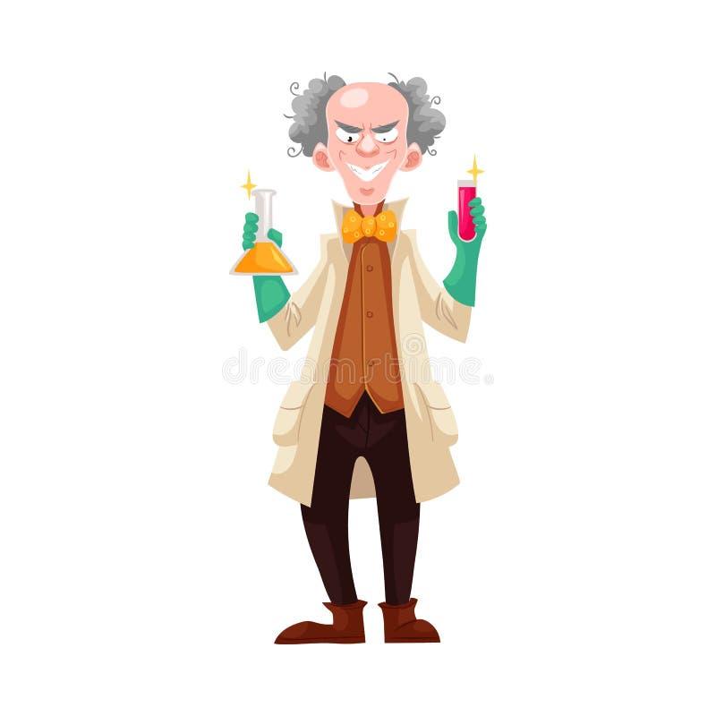 Сумашедший профессор в пальто лаборатории и зеленых резиновых перчатках бесплатная иллюстрация
