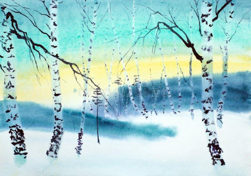 Сумерк в лесе зимы бесплатная иллюстрация