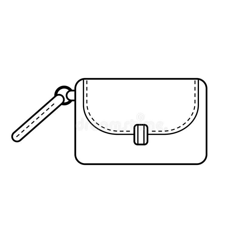 Сумка Аксессуар моды Черно-белая плоская иллюстрация для книжка-раскраски бесплатная иллюстрация