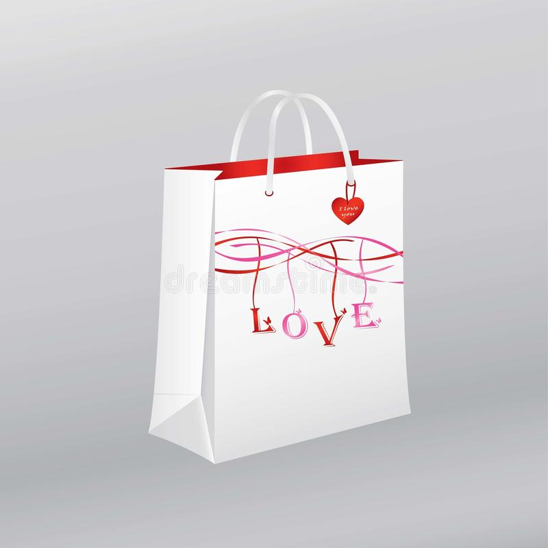 Сумка белой бумаги на день ` s валентинки, день ` s женщин, годовщины, захваты, свадьбы иллюстрация штока