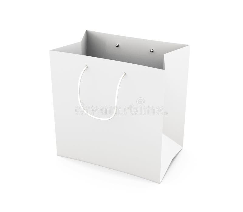Сумка белой бумаги при ручки изолированные на белой предпосылке 3d иллюстрация штока