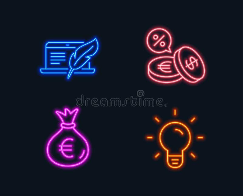 Сумка денег, компьтер-книжка авторского права и значки валютной биржи Знак электрической лампочки бесплатная иллюстрация