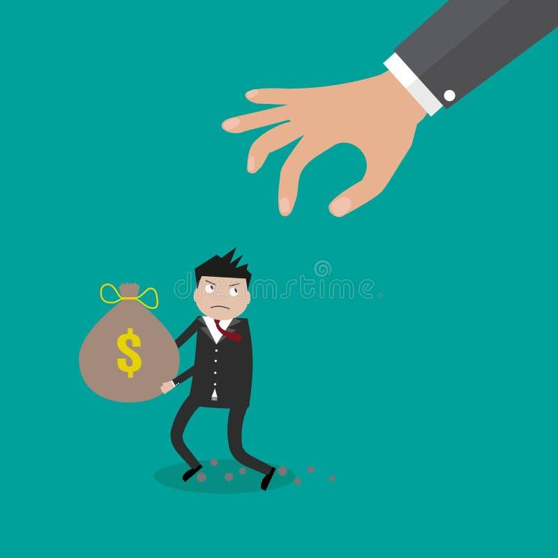 Сумка денег руки хватая иллюстрация штока