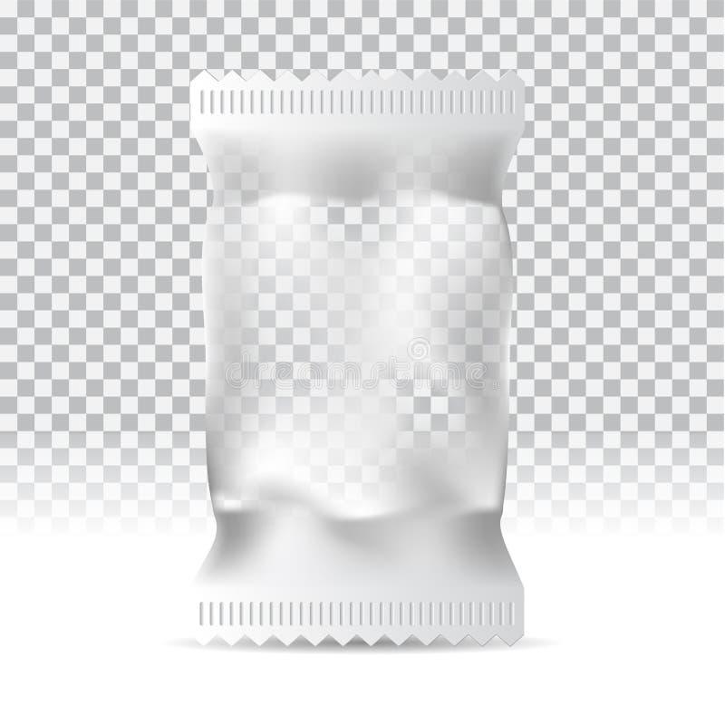 Сумка закуски еды на прозрачной предпосылке Пустая упаковывая насмешка вверх может быть пользой для шаблона ваш дизайн, promo, ad иллюстрация вектора