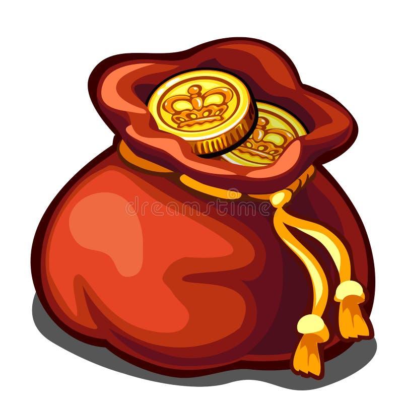 Сумка золотых монеток, символ богатства, значок вектора бесплатная иллюстрация