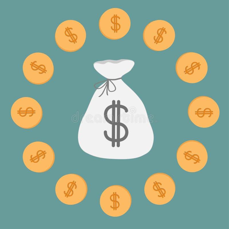 Сумка и монетки денег. Значок. Знак доллара. иллюстрация штока