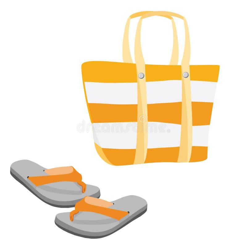 Сумка и сандалии пляжа иллюстрация штока
