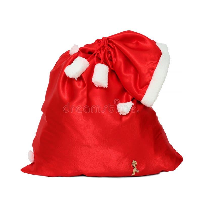 Сумка красного цвета Санта Клауса рождества стоковая фотография