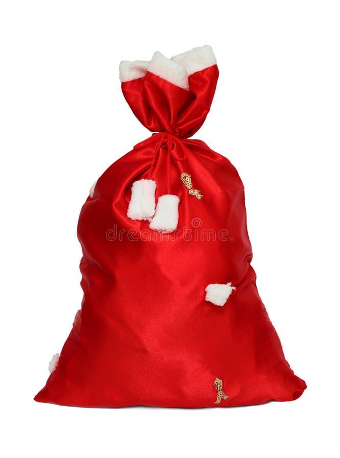 Сумка красного цвета Санта Клауса рождества стоковое изображение rf