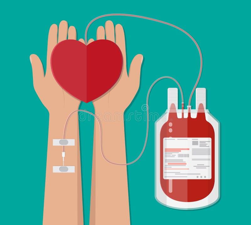 Сумка крови и рука дарителя с сердцем пожертвование иллюстрация вектора