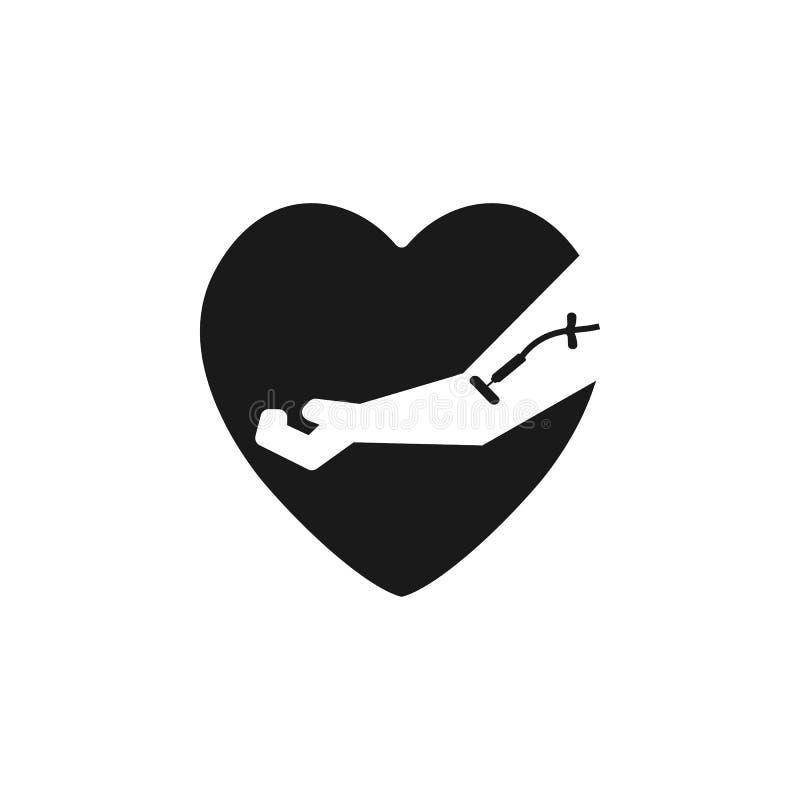 Сумка крови и рука дарителя с сердцем Концепция дня донорства крови Человек дарит кровь Иллюстрация вектора в плоском стиле бесплатная иллюстрация