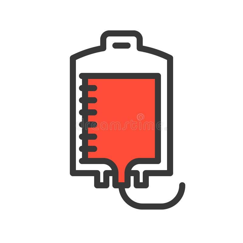 Сумка крови, простой заполненный набор значка плана медицинский иллюстрация вектора