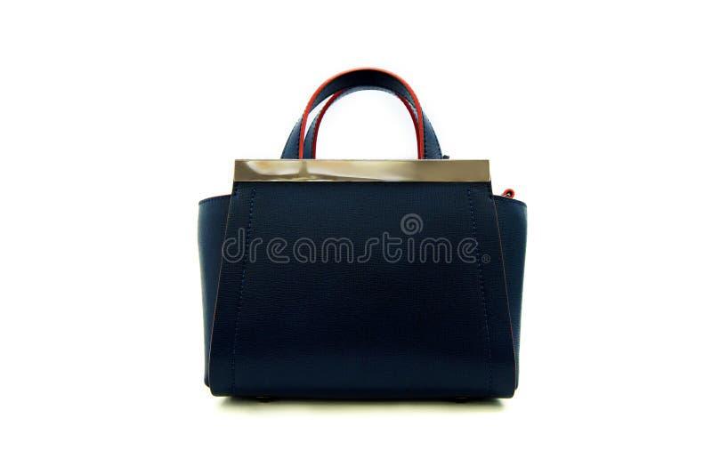 сумка моды роскошного темно-синего кожаного удерживания женская стоковое фото