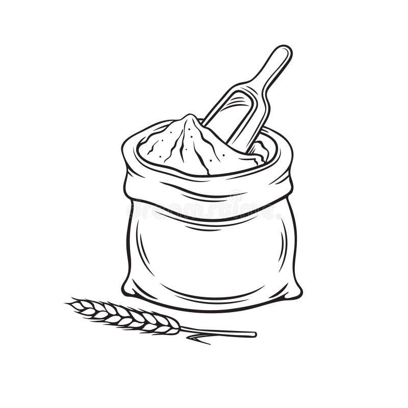 Сумка нарисованная рукой муки иллюстрация вектора