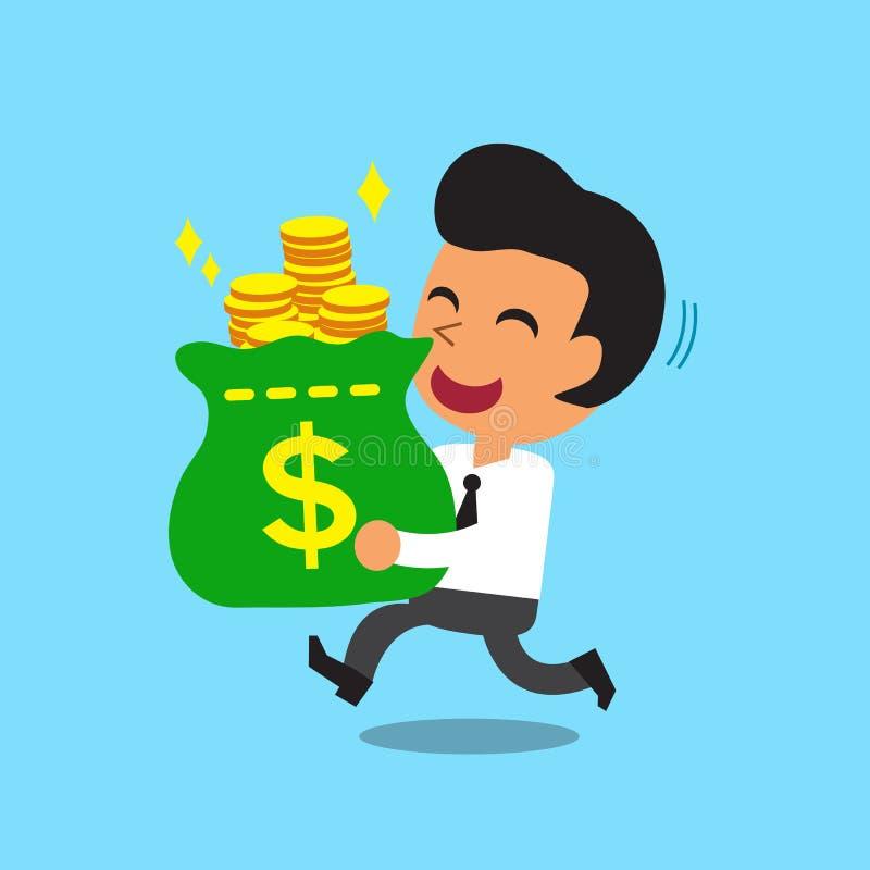Сумка нося денег бизнесмена иллюстрация вектора