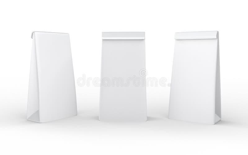 Сумка обеда белой бумаги изолированная на белизне с путем клиппирования бесплатная иллюстрация