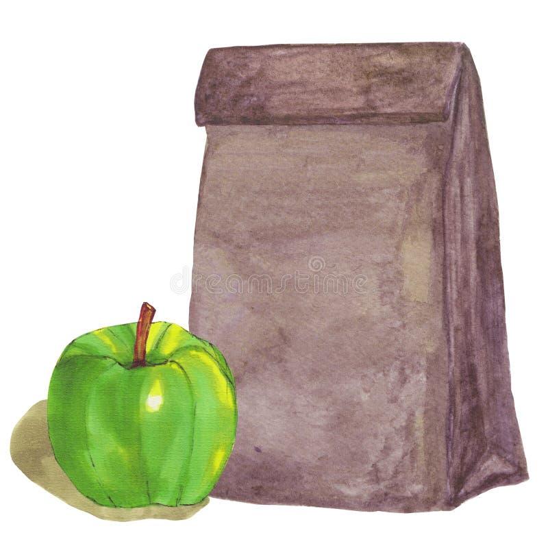 Сумка обеда бумаги Брайна с зеленым яблоком иллюстрация штока