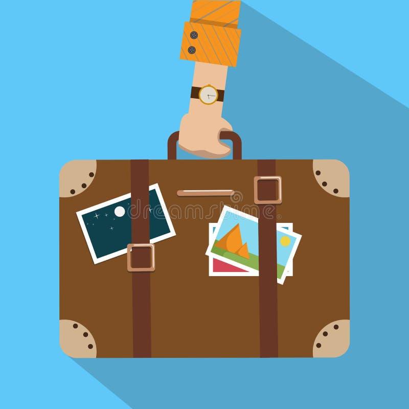 Сумка перемещения, багаж Рука ` s человека держит чемодан с стикерами Fl иллюстрация штока