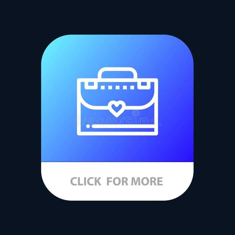 Сумка, портфель, кнопка приложения любов мобильная Андроид и линия версия IOS иллюстрация штока