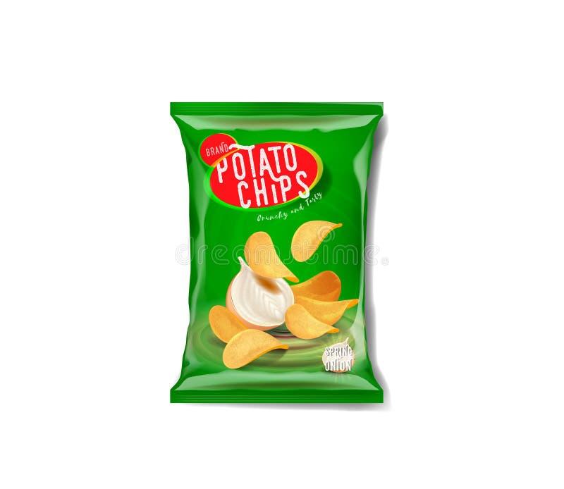 Сумка рекламы картофельных стружек, вкус лука весны иллюстрация вектора