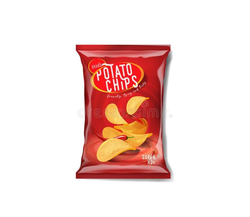 Сумка рекламы картофельных стружек, пряный вкус перца чилей иллюстрация штока