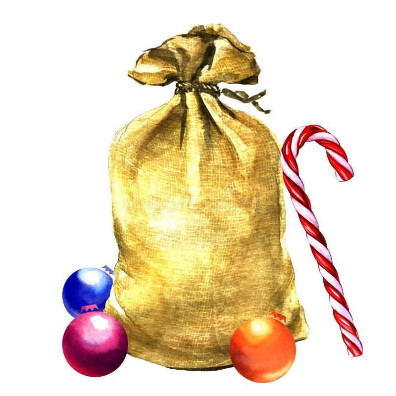 Сумка Санта Клауса при изолированные игрушки рождества иллюстрация штока