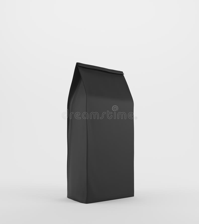 Сумка черного обеда бумажная на белой поверхности иллюстрация вектора