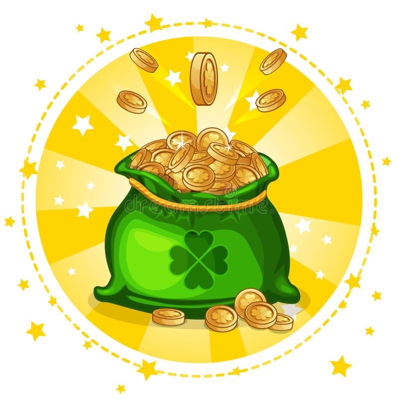 Сумка шаржа полная золотых монеток иллюстрация вектора