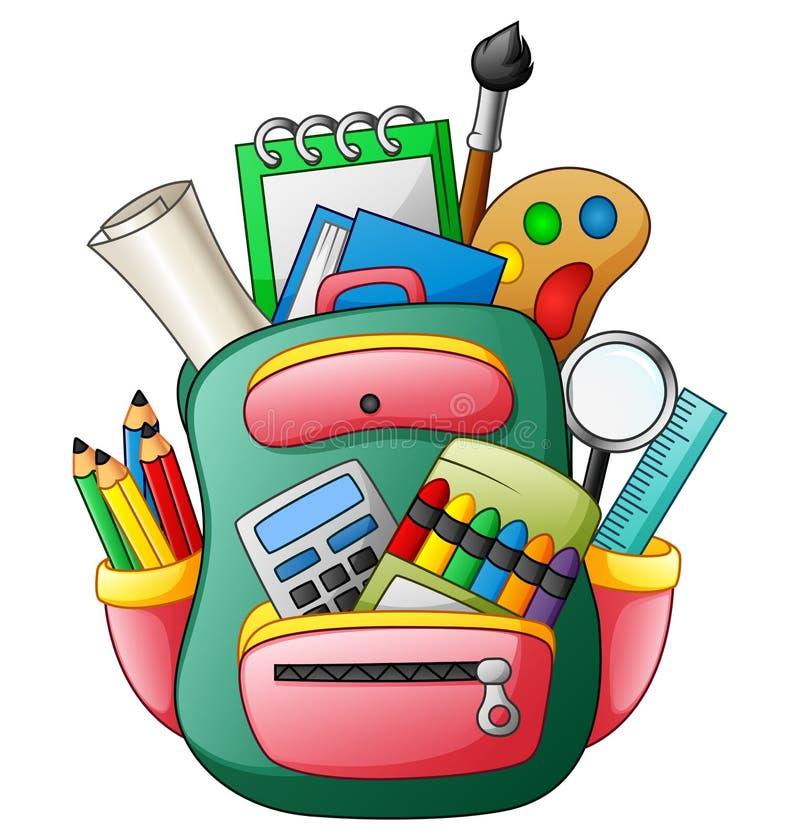 Сумка школы с школьными принадлежностями иллюстрация штока