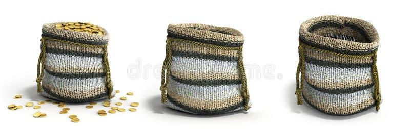 Сумка 3d ремесленничества handmade вязать малая представляет на белизне бесплатная иллюстрация