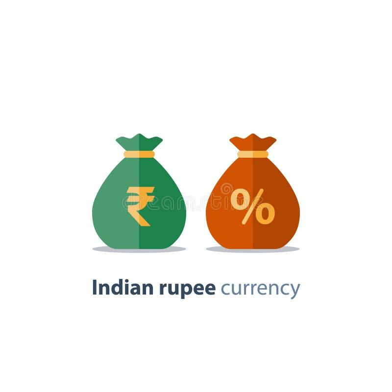 Сумки денег, знак индийской рупии, обмен валюты, сбережения и инвестирования, финансовое решение иллюстрация вектора